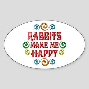 Rabbit Happiness Sticker (Oval)