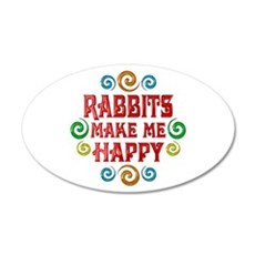Rabbit Happiness 22x14 Oval Wall Peel