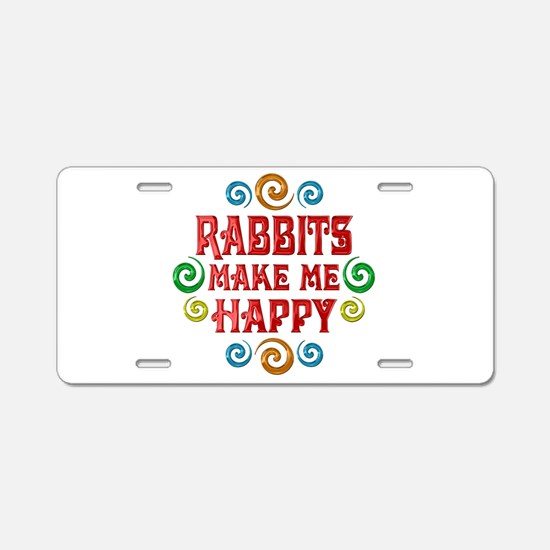 Rabbit Happiness Aluminum License Plate