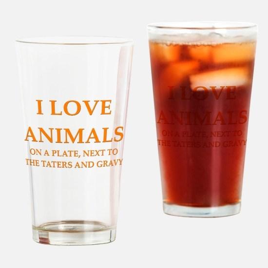 i love animals Pint Glass