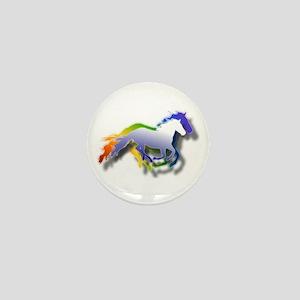 3D Running Horses Mini Button