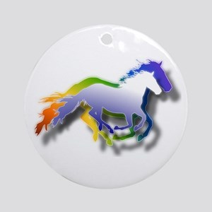 3D Running Horses Ornament (Round)