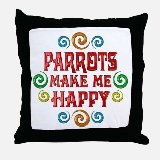 Parrot Happiness Throw Pillow