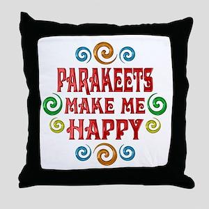 Parakeet Happiness Throw Pillow