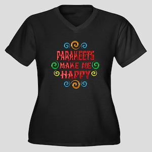 Parakeet Happiness Women's Plus Size V-Neck Dark T
