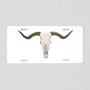 Longhorn Skull Symbol Aluminum License Plate