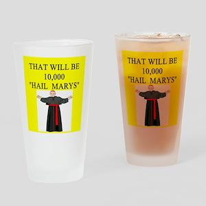 catholic joke Pint Glass