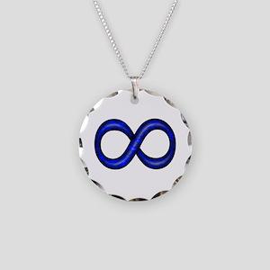 Blue Infinity Symbol Necklace Circle Charm