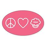 Peace, Love &Amp; Vegan Cupcakes Sticker (Oval 50