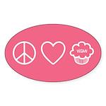 Peace, Love &Amp; Vegan Cupcakes Sticker (Oval 10