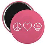 """Peace, Love & Vegan Cupcakes 2.25"""" Magnet"""