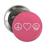 "Peace, Love & Vegan Cupcakes 2.25"" Button"