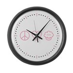Peace, Love & Vegan Cupcakes Large Wall Clock