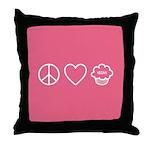 Peace, Love & Vegan Cupcakes Throw Pillow