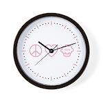 Peace, Love & Vegan Cupcakes Wall Clock