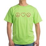 Peace, Love & Vegan Cupcakes Green T-Shirt
