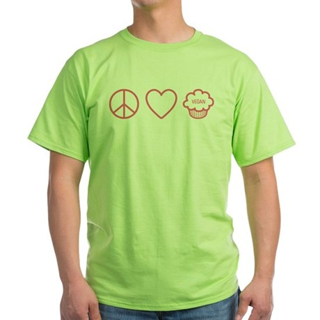 Peace, Love & Vegan Cupcakes Green T-Shirt