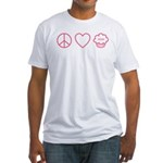 Peace, Love &Amp; Vegan Cupcakes Fitted T-Shirt