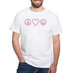 Peace, Love & Vegan Cupcakes White T-Shirt