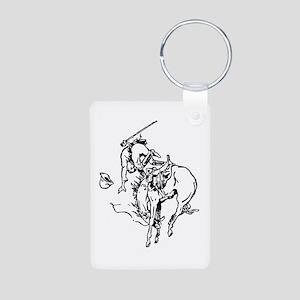 Horse Bucking Cowboy Image Aluminum Photo Keychain