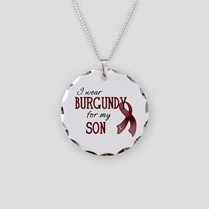 Wear Burgundy - Son Necklace Circle Charm