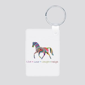 Rainbow pony Aluminum Photo Keychain
