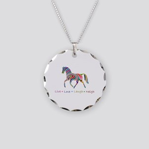 Rainbow pony Necklace Circle Charm