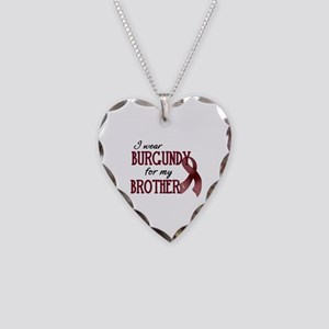 Wear Burgundy - Brother Necklace Heart Charm