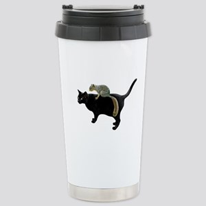 Squirrel on Cat Stainless Steel Travel Mug