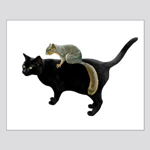 Squirrel on Cat Small Poster