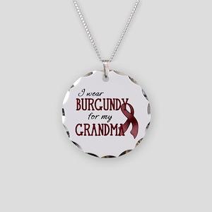 Wear Burgundy - Grandma Necklace Circle Charm
