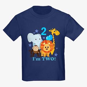 2nd Birthday Jungle Kids Dark T-Shirt