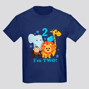 2nd Birthday Jungle Kids Dark T-Shirt