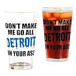 Detroit Football Drinking Glass