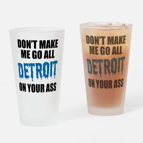 Detroit Football Drinking Glass