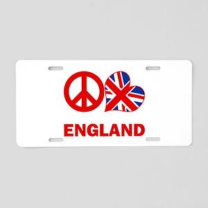 Peace Love England Aluminum License Plate
