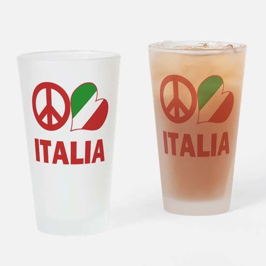 Peace Love Italy Drinking Glass
