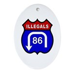 American Illegals Red-Blue Oval Ornament