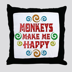 Monkey Happiness Throw Pillow