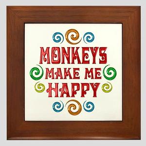 Monkey Happiness Framed Tile