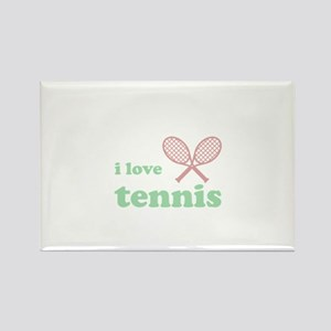 i love tennis (green/red) Rectangle Magnet