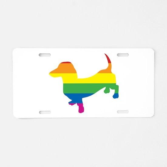 Gay Pride Dachshund Aluminum License Plate