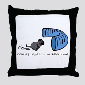 Tunnel Pug in Black Throw Pillow
