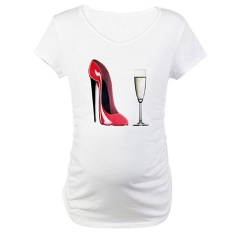 Champagne and Red Stiletto Maternity T-Shirt