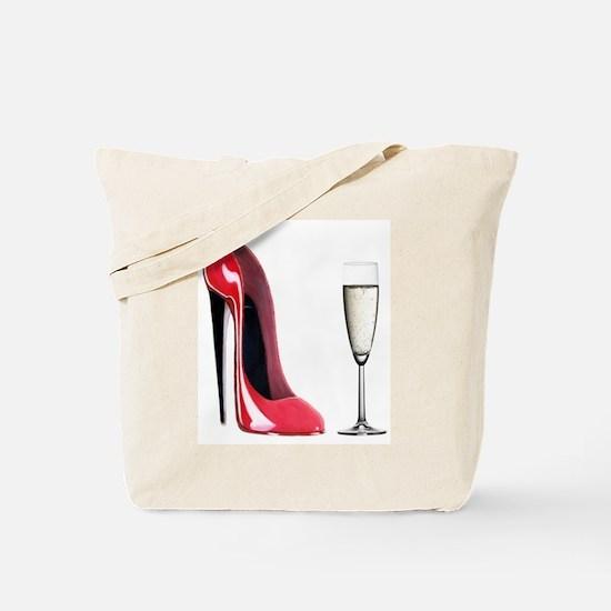 Champagne and Red Stiletto Tote Bag