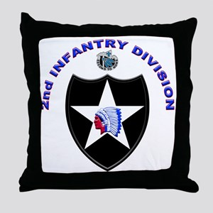 US Army 2nd Infantry Division Throw Pillow