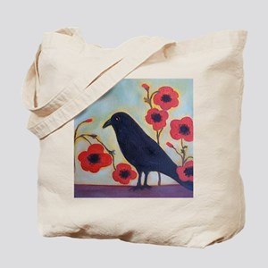 Crow and Poppies Tote Bag