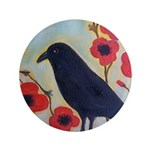 "Crow and Poppies 3.5"" Button"