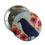 "Crow and Poppies 2.25"" Button"