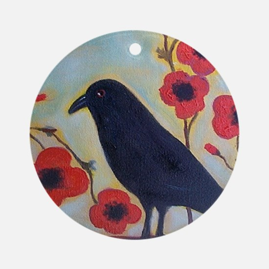 Crow and Poppies Ornament (Round)